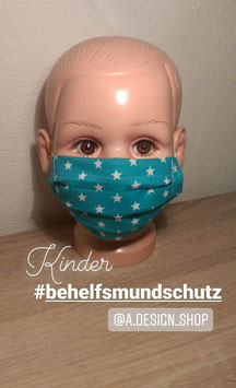 """KINDER Behelfs-Mundschutz Maske 10-14 Jahre mit """"Flausch-Gummi"""""""
