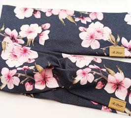 """Stirnband & Knotenstirnband """"dunkelblau mit Hibiskus Blüten"""""""
