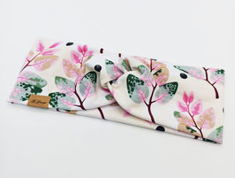 Knotenstirnband Blätter rosa-grün