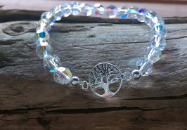 Original Swarovski Glas Perlen Armband Lebensbaum 925er Silber