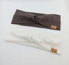Knotenstirnband ultra leichter/dünner Jersey braun & mega leichter/dünner Woll-Jersey weiss