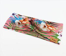 Knotenstirnband Farn/Blumen rosa