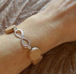 """Holzscheiben Armband mit """" Unendlichkeit-Infinity"""""""