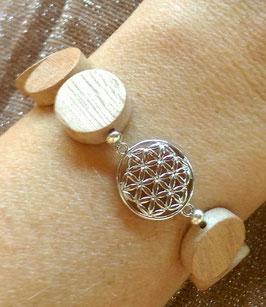 Holzscheiben Armband mit Lebensblume
