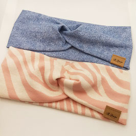 Knotenstirnband Jeansoptik & Zebra