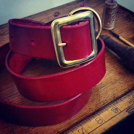 leather belt with brass or chrome buckle