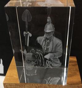 Bloc en cristal - St Georges gravé en 3D