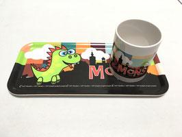 """Plateau petit déjeuner """"Dragon fun"""" en bois mélanisé"""