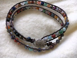Double Wrap Leather Beaded Bracelet with Mona Robles