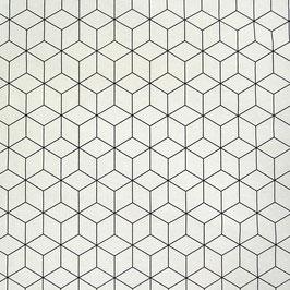Baumwolle Webware Geo schwarz weiß