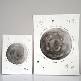 Aquarellbild LOVE YOU TO THE MOON