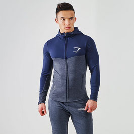 GymSharkFit Hooded Top- Graphite/Navy- Blue