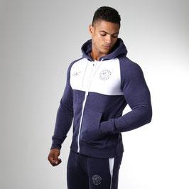 GymShark Luxe Legacy Zip Hoodie Navy Blue / White