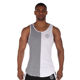 GymShark Luxe Stripe Vest White / Black
