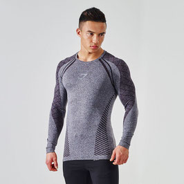 GymShark Seamless Devant Long Sleeve T-Shirt Black
