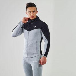 GymShark Fit Hooded Top V2 Black/Grey Marl