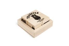 Holz Würfelpuzzle «Schnupf, Schnaps + Edelwyss»