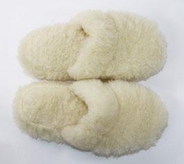 Chaussons mules en laine de mouton naturelle blanc cassé