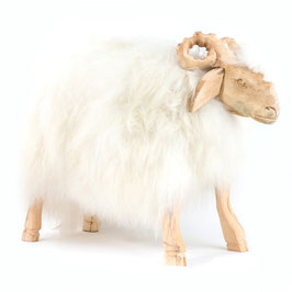 Tabouret Belier assise en peau de mouton