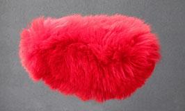 Couvre selle de mouton en peau de mouton teintée rouge à poils longs