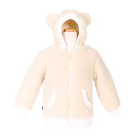 """Veste enfant """"Oreille"""" en laine naturelle de mouton écru"""