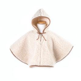 Poncho enfant en laine naturelle de mouton marron