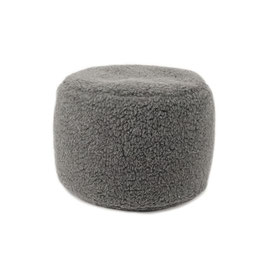 Pouf repose pieds en laine naturelle de mouton gris anthracite fabriqué en France