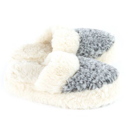 Chaussons mules en laine de mouton naturelle bicolore gris chiné / blanc cassé