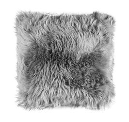 Coussin en fourrure naturelle de mouton gris