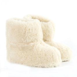 Véritables chaussons BAMBOUCHA® enfant en laine naturelle de mouton blanc