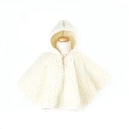 Poncho enfant en laine naturelle de mouton blanc cassé