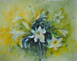 Lilien mit gelben Untergrund