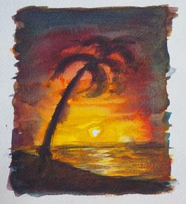 Palme in der untergehenden Sonne