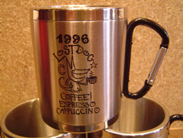 "12 ounce LostDogCoffee ""HOBO"" Logo Caribiner-Clip handle Travel Mug"