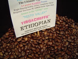 "ETHIOPIA. Yerg'cheffe' grown. ""Misto Valley"". AA+ Washed. Organic"