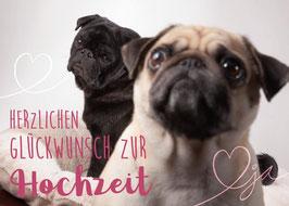 """Postkarte Mops """"Glückwunsch zur Hochzeit"""""""