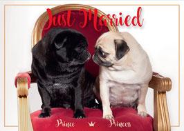 "Postkarte Mops ""Just Married"""