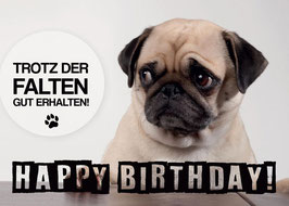 "Postkarte Mops ""Happy Birthday Falten"""