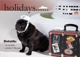 "Postkarte Mops ""holidays"""