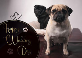 "Postkarte Mops ""Happy Wedding Day"""