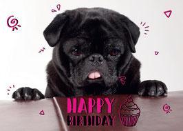 """Postkarte Mops """"Happy Birthday"""""""