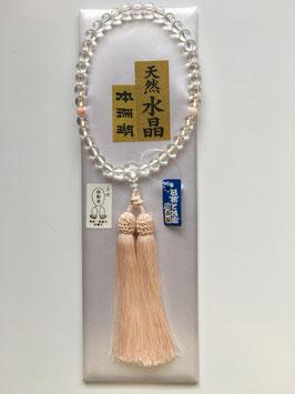天然水晶 本珊瑚 略式数珠