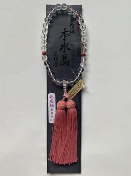 本水晶 ローズジャスパー 略式数珠
