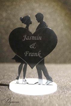 Brautpaar stehend mit Herz Tortenaufsteller