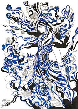 """Série """"noir et bleu"""", format A3"""