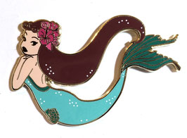 Swimming retro mermaid enamel pin blue