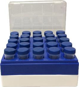 Polycarbonat-Gefrierboxen für 5ml-Makroröhrchen, 25 Plätze (5x5)