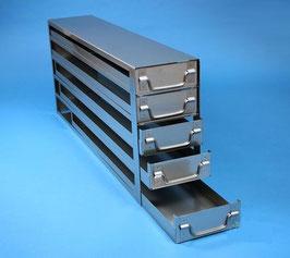Edelstahl-Schrankeinschübe mit Auszugsstop für 25 Boxen passend zu Haier Ultratiefkühlschränken
