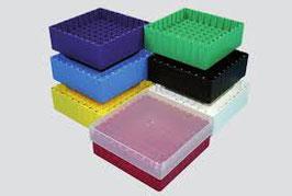 JoJo Kryobox 45 130x130 mm mit Code und 9 x 9 Fächer für 81 Röhrchen bis 12,5 mm, VE = 10 St.
