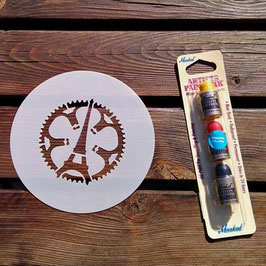 "Pochoir logo ""Eiffel"" et pack 3 mini sticks peinture Markal"